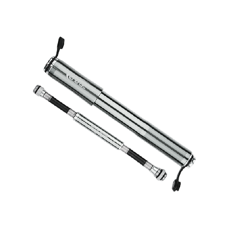 aluminum bike hand pump with pressure gauge and thread-in Presta and Schrader valve connectors integrated on hose