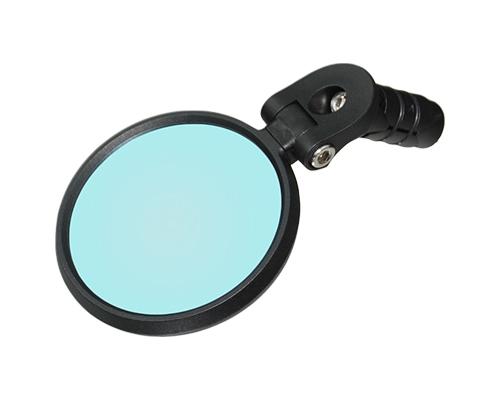bike mirror, shatterproof, scratchproof glass, clear wide-angle rear views, bar-end mount bike mirror, nylon structure, blue