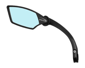bike mirror, shatterproof, scratchproof glass, clear wide-angle rear-view, handlebar mount, foldable, nylon structure, e-bike mirror, IF award Taipei Cycle Show, blue left