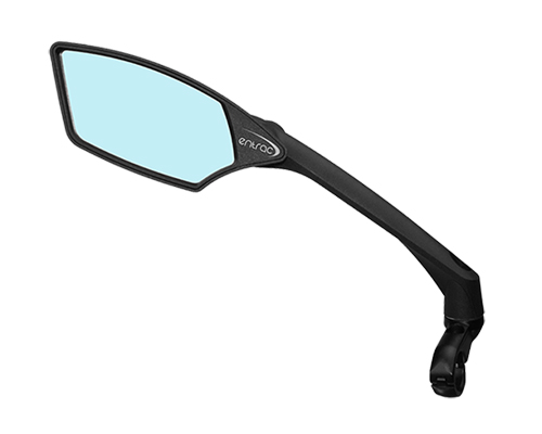 bike mirror, shatterproof, scratchproof glass, clear wide-angle rear-view, handlebar mount, 360-degree adjustable arm, foldable, aerodynamic arm, nylon structure, e-bike mirror, blue left