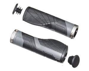 bike handlebar grip, ergonomic comfort, lock-on, non-slip pattern/texture, TPR rubber shock-absorbent, aluminum lock ring, easy-to-install