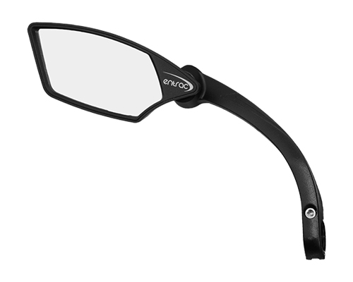 bike mirror, shatterproof, scratchproof glass, clear wide-angle rear-view, handlebar mount, foldable, nylon structure, e-bike mirror, IF award Taipei Cycle Show, chrome silver left